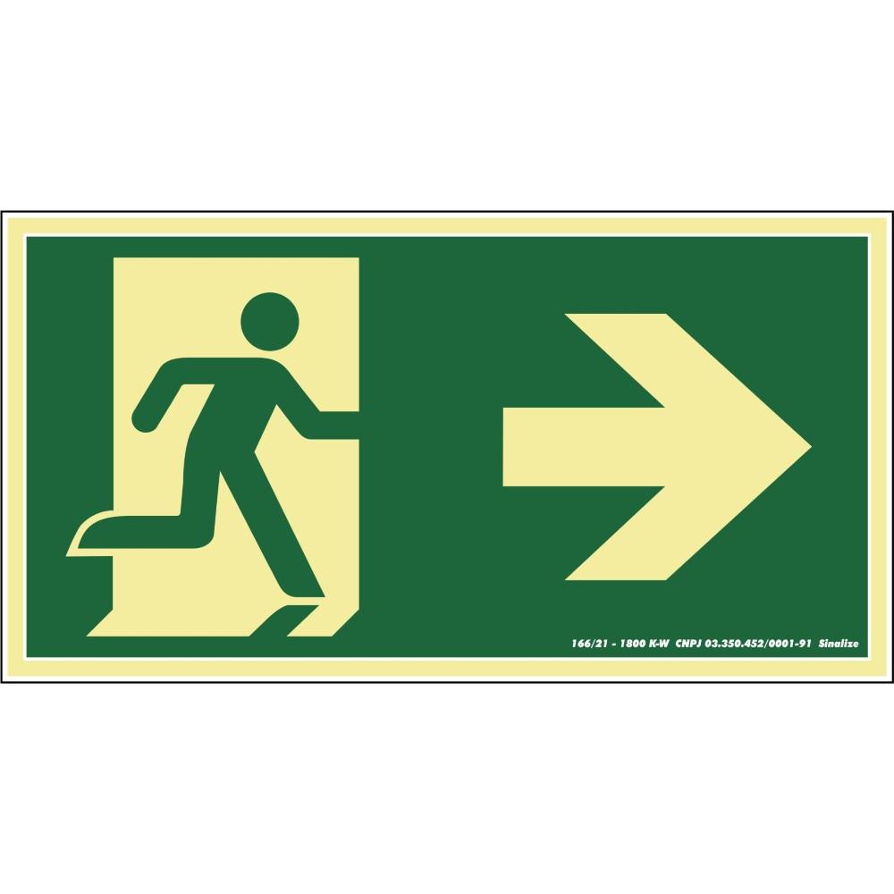 Placa de PVC Saida De Emergencia Para Direita 15cm x 30cm Verde - Sinalize