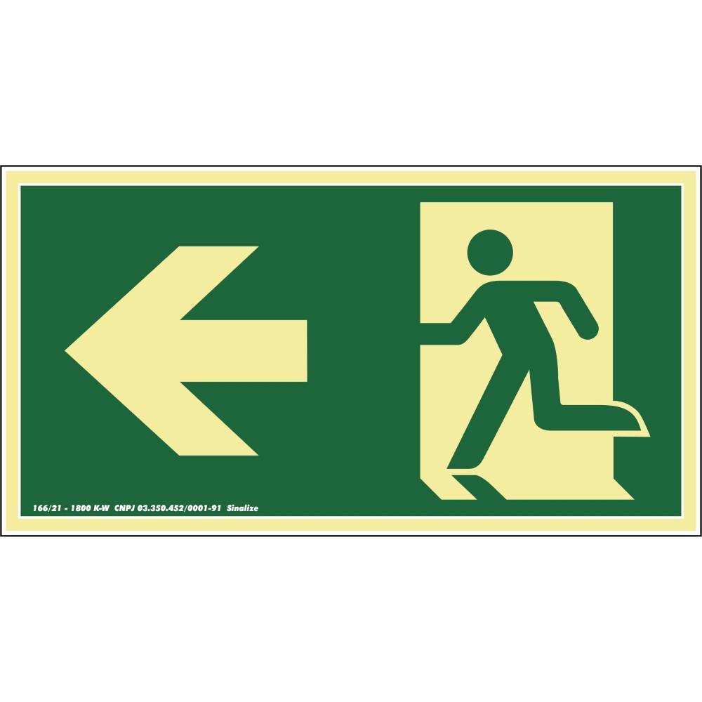 Placa de PVC Saida De Emergencia Para Esquerda 15cm x 30cm Verde - Sinalize