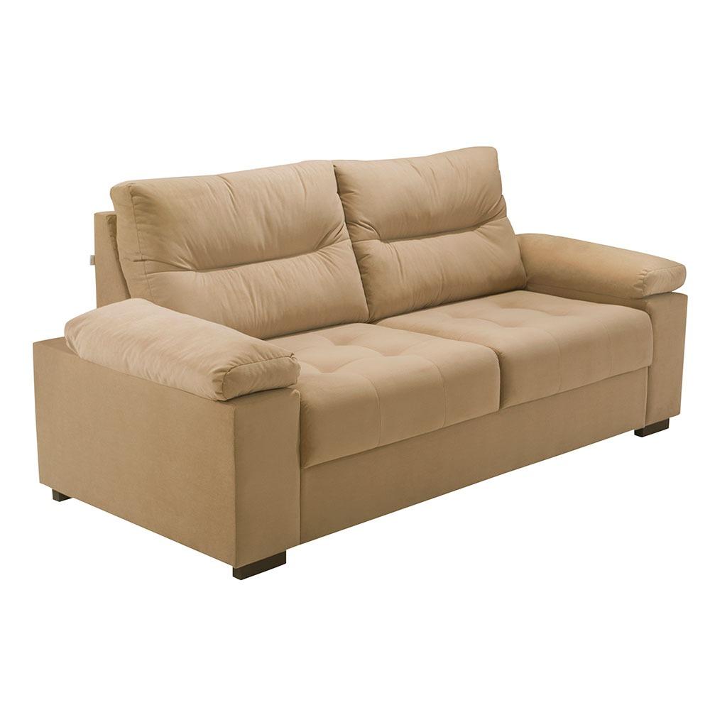 Sofa 3 Lugares Herval Bege Suede 199 cm