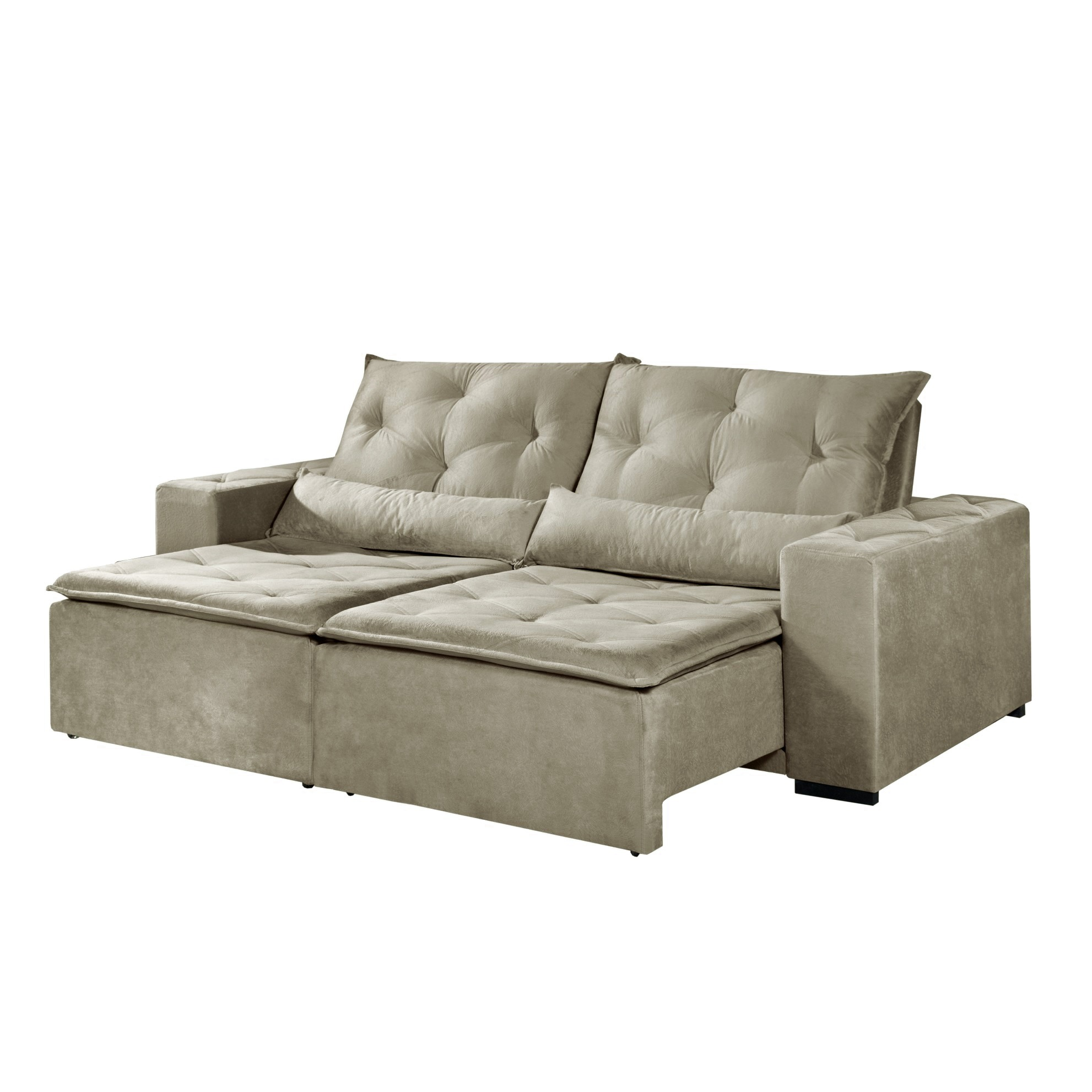 Sofa Retratil Reclinavel 2 Lugares Macae Suede 230 cm Bege - Estofart
