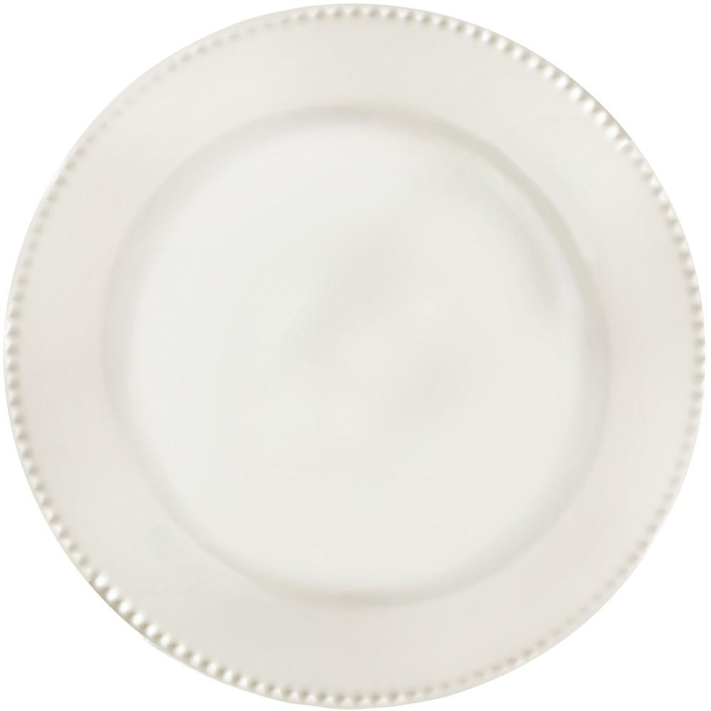 Prato Raso Redondo em Ceramica Perla Branco 24cm - Yoi
