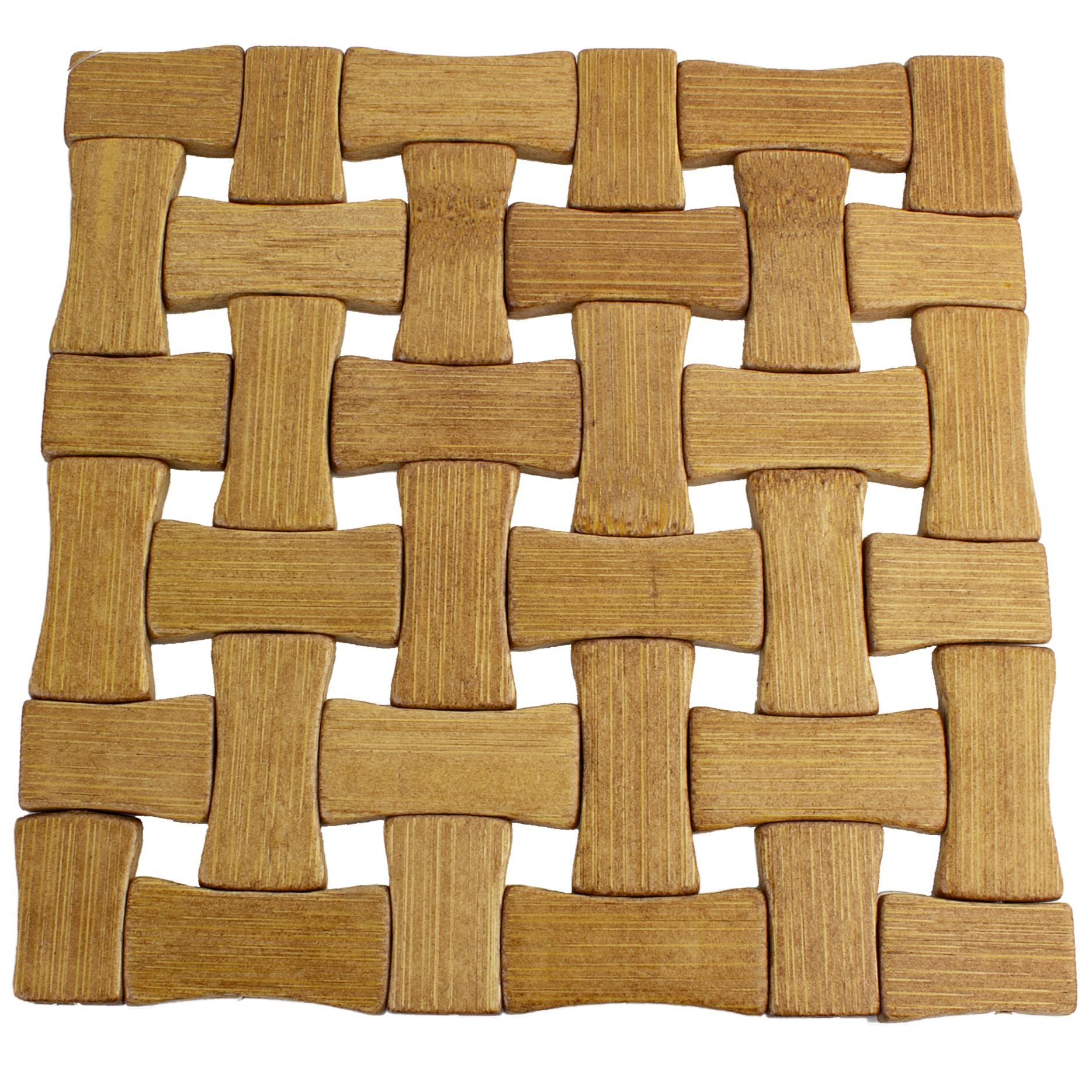 Descanso de Panela Quadrado de Bambu 16 cm Marrom Claro - Euroquadros
