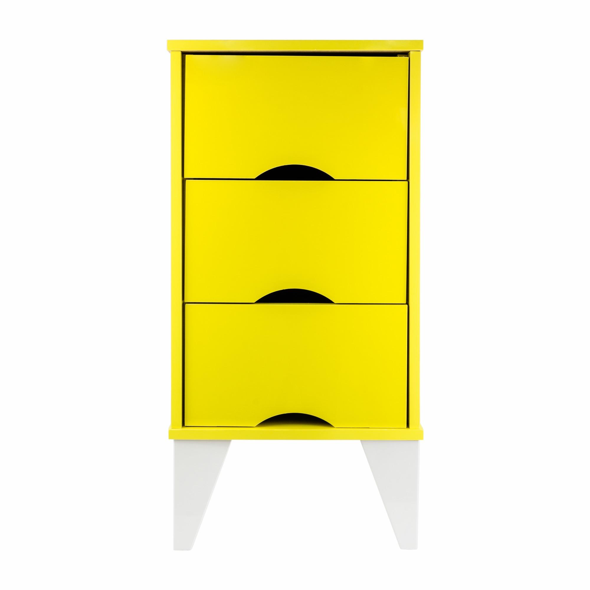 Mesa de Cabeceira 36x73cm 3 Gavetas Twister Amarelo e Branco - Tcil
