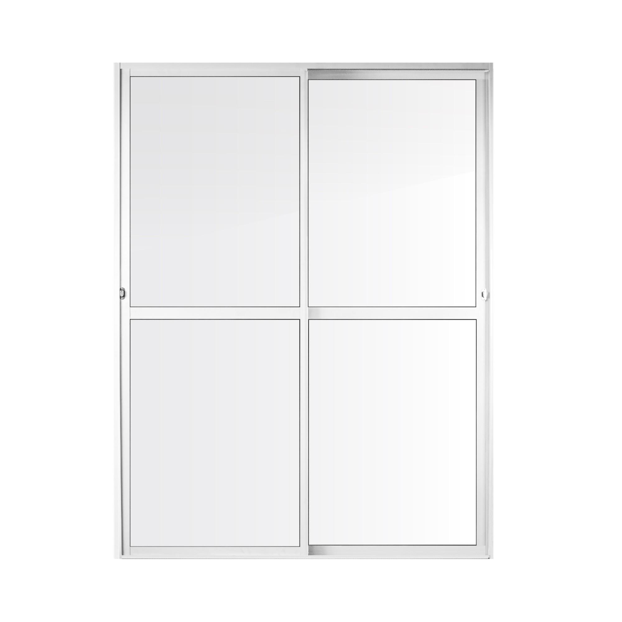 Porta Balcao de Aluminio 2 Folhas 210x160cm Branca Metalflex - Aluvid