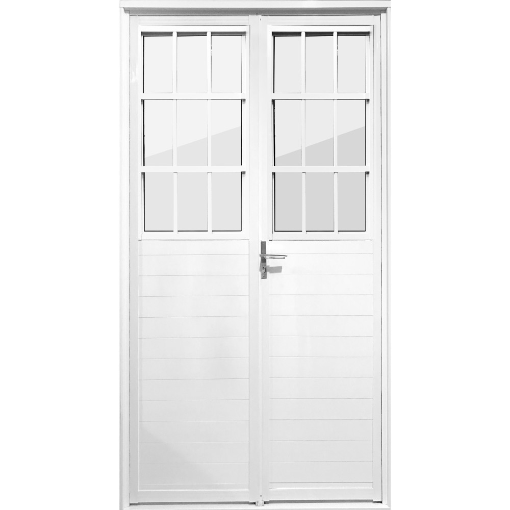 Porta de Abrir de Aluminio 2 Folhas 210 x 100cm - Aluvid
