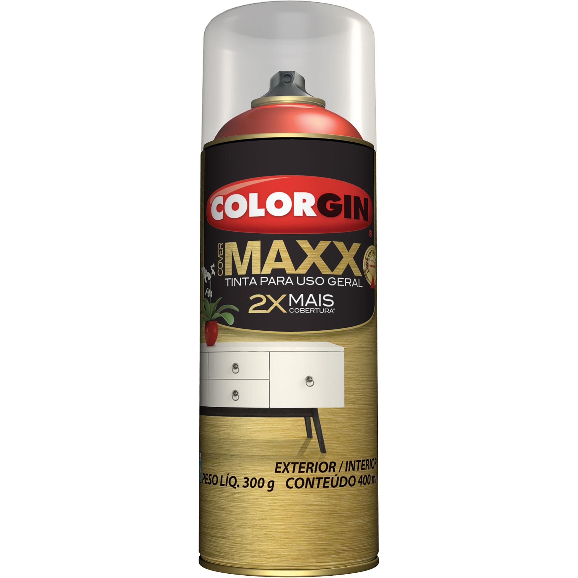 Tinta Spray Brilhante Cover maxx Interno e Externo - Vermelho Super - 400ml - Colorgin