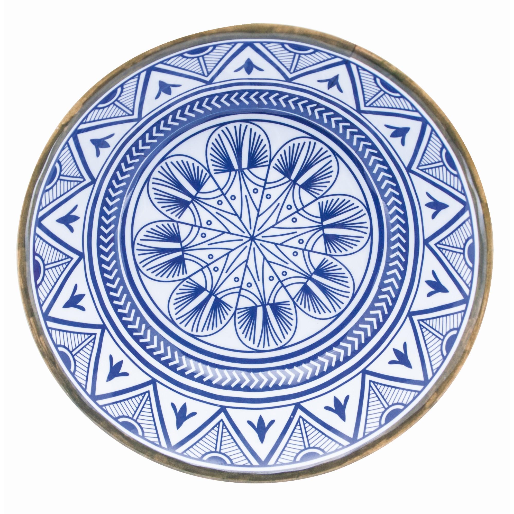 Prato Raso Redondo em Melamina Etnica Azul 27cm - Mimo Style
