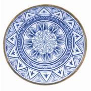 Prato Raso Redondo em Melamina Étnica Azul 27cm - Mimo Style