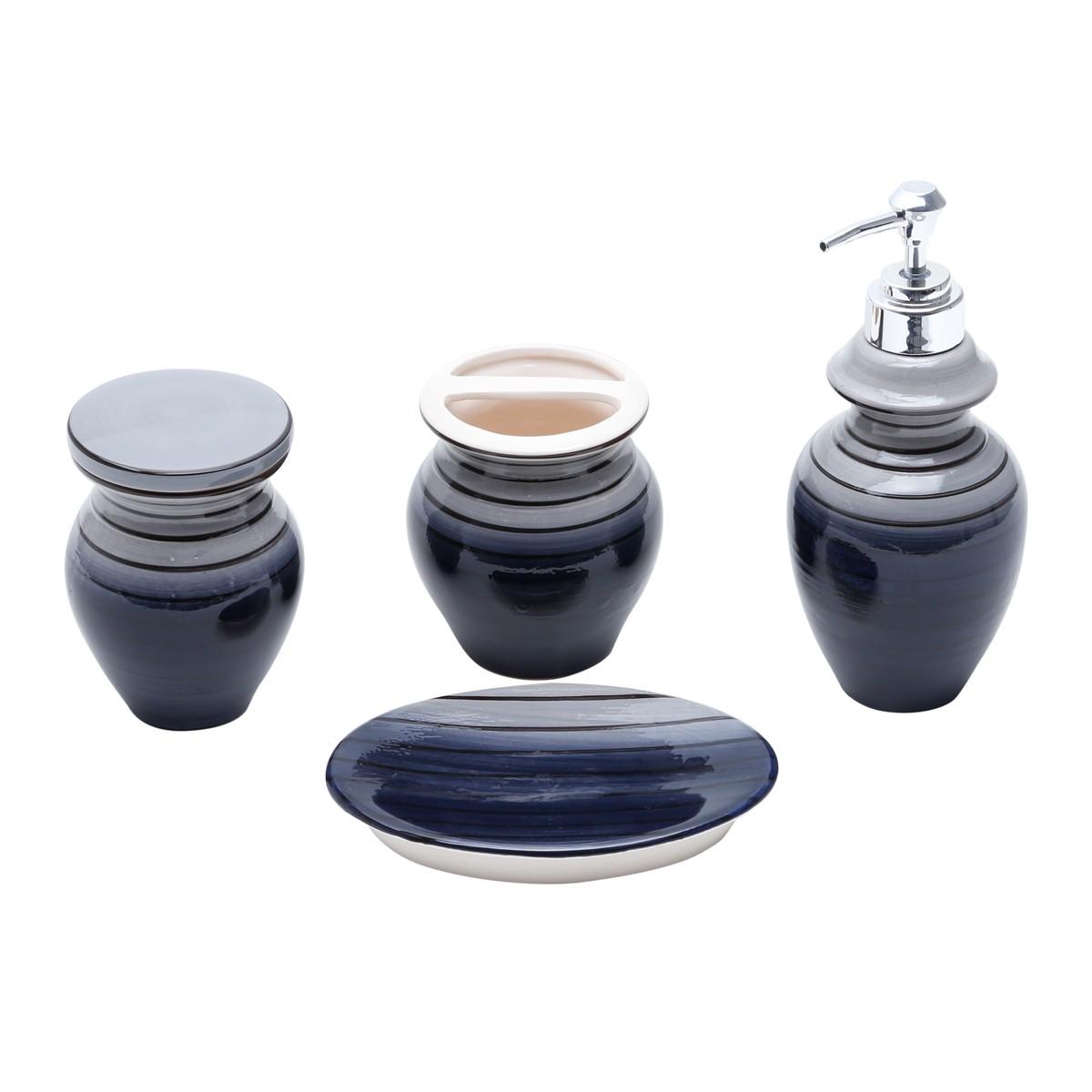 Jogo para Banheiro de Ceramica 4 Pecas Preto 25733 - Rojemac