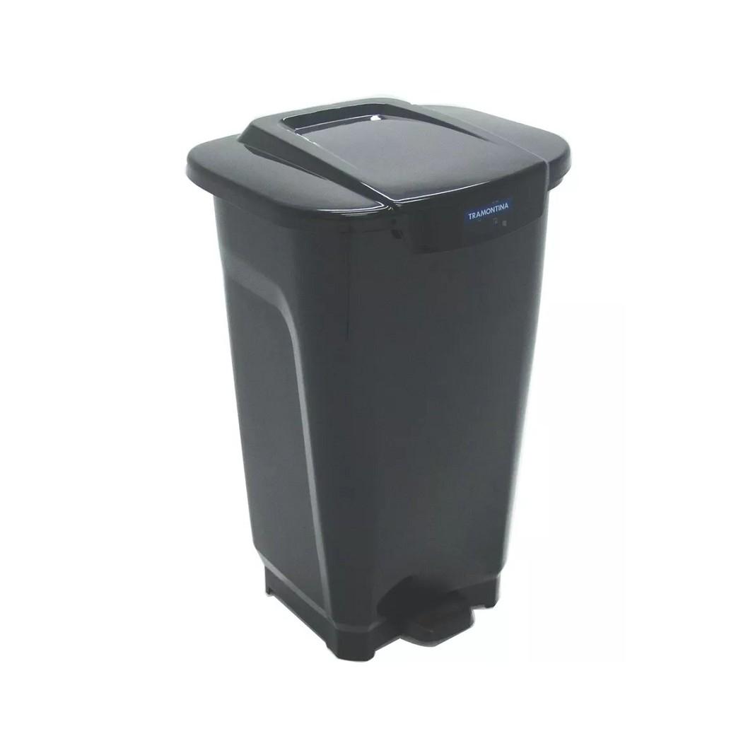 Lixeira de Plastico com Pedal 50L Preta - Tramontina