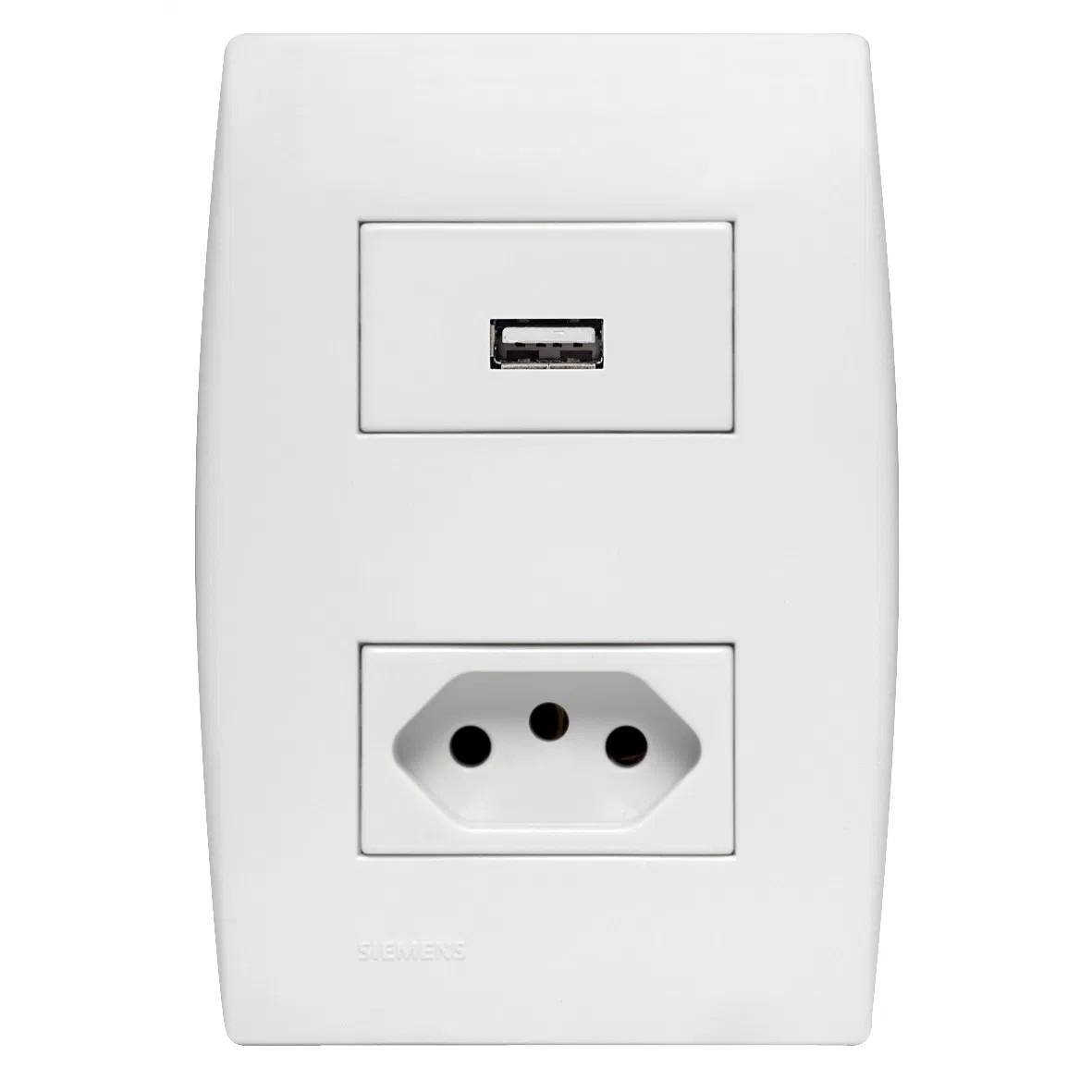 Conjunto Montado para Carregador USB com Tomada 2PT 4x2 5TG99103 ILUS Bivolt - Iriel