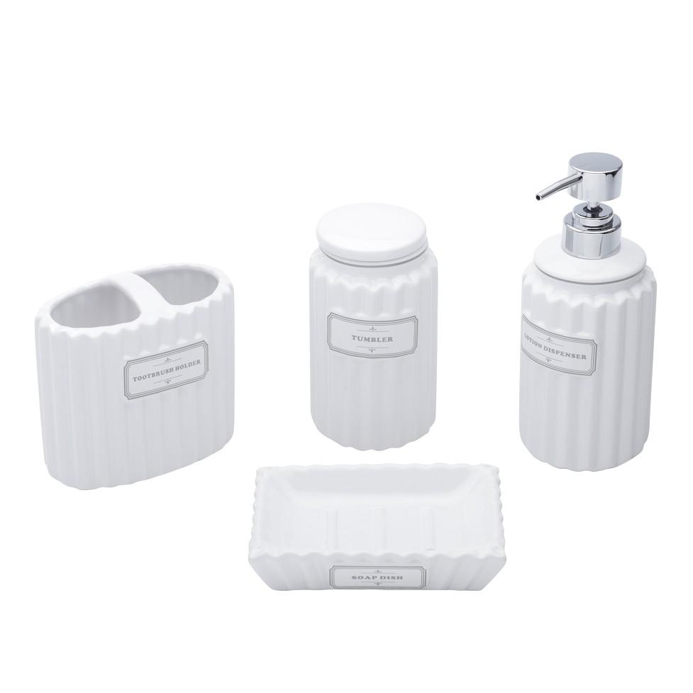 Jogo para Banheiro de Ceramica 4 Pecas Branco 6677 - Coliseu