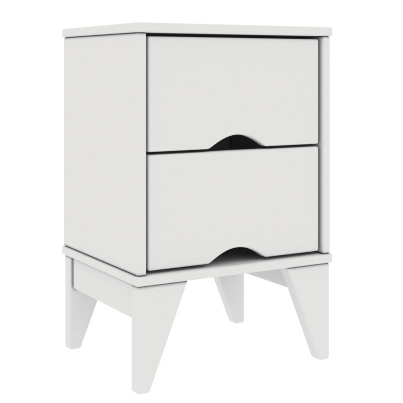 Mesa de Cabeceira 36x55cm 2 Gavetas Twister Branco - Tcil