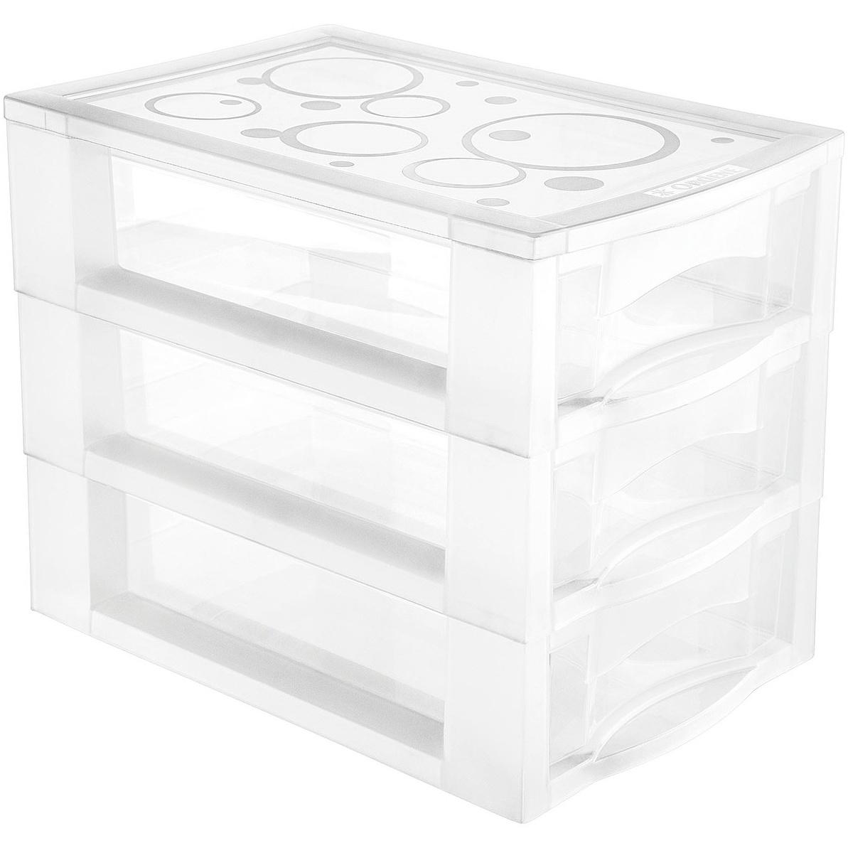 Gaveteiro de Plastico Branco com 3 Gavetas para Mesa 81300 - Ordene