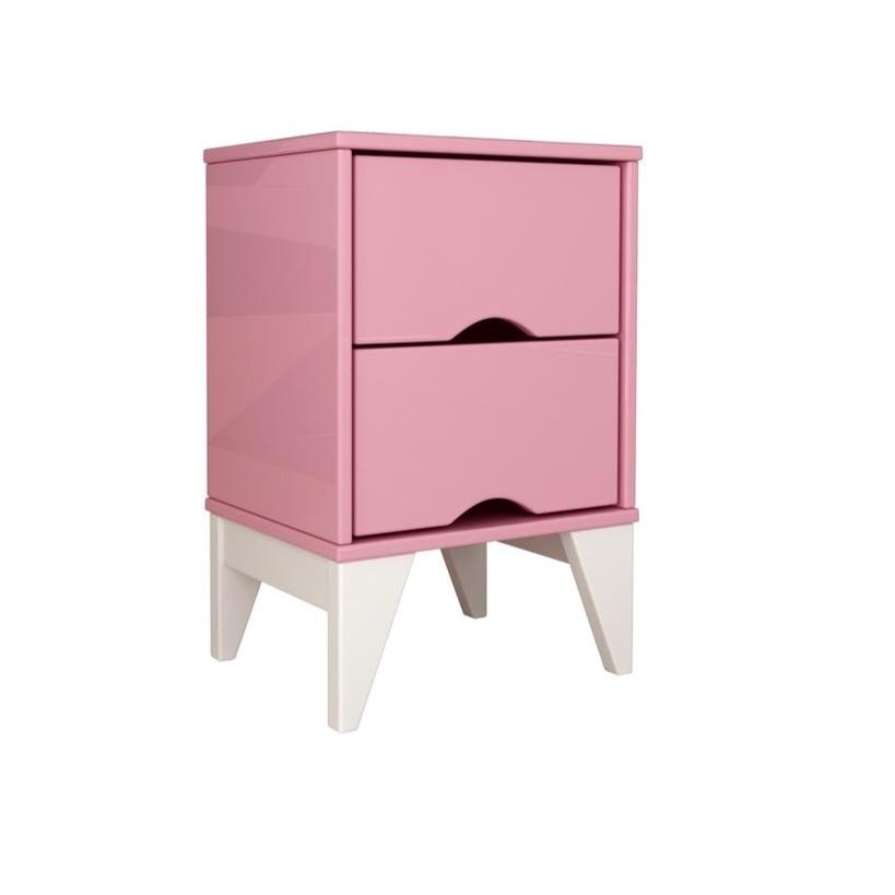 Mesa de Cabeceira 36x55cm 2 Gavetas Twister Rosa e Branco - Tcil