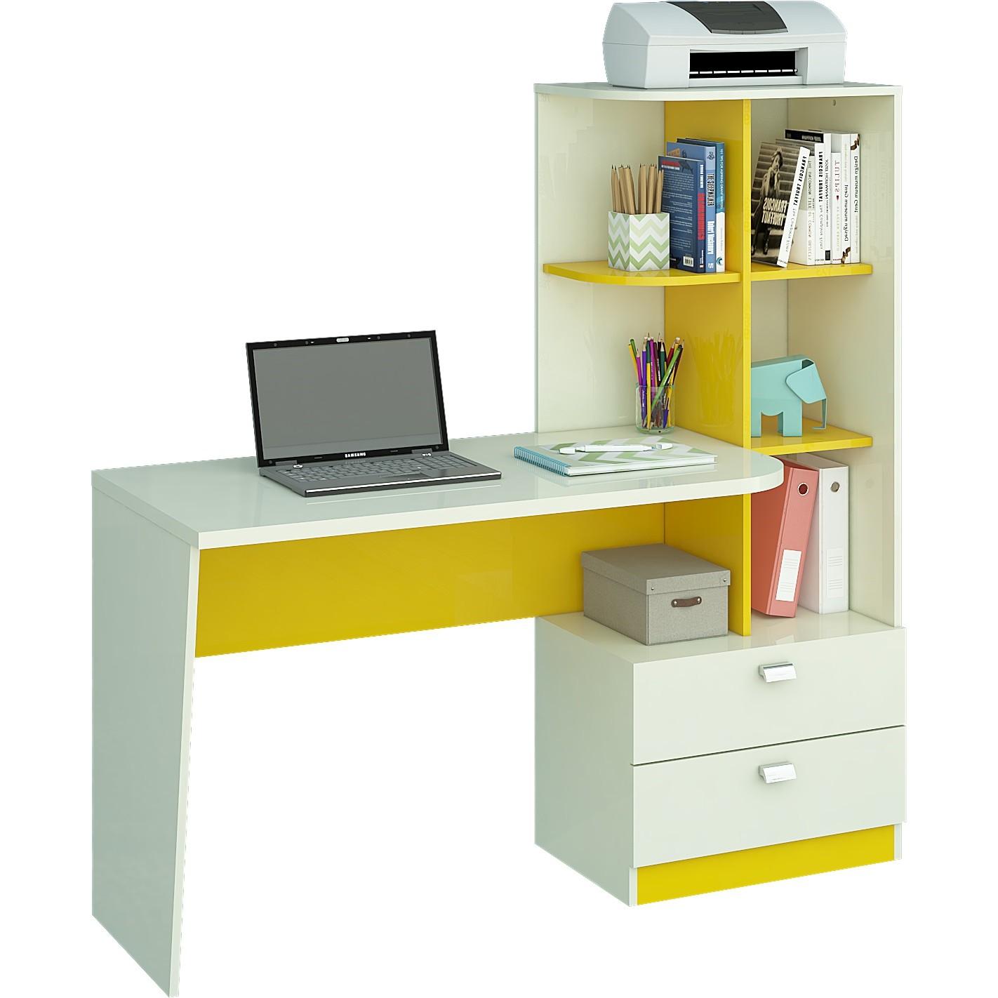Mesa Computador Elisa Branca Amarela 134cm - Permobili