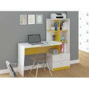 Escrivaninha Elisa Branca Amarela 2 Gavetas 134 cm - Permóbili