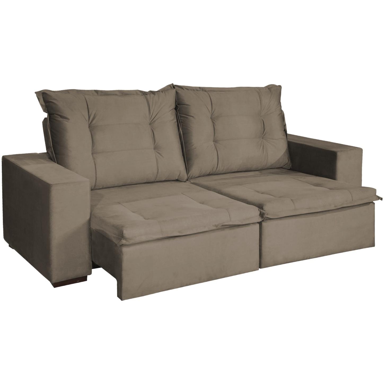 Sofa Ariel 3 Lugares Retratil Reclinavel Veludo 212 x 98 x 101 Marrom - Spazzio