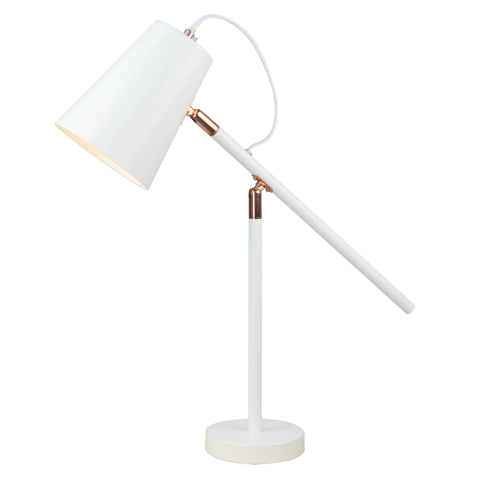 Luminaria de Mesa Metal Articulada Branca e Cobre E27 6022 - Ecoline