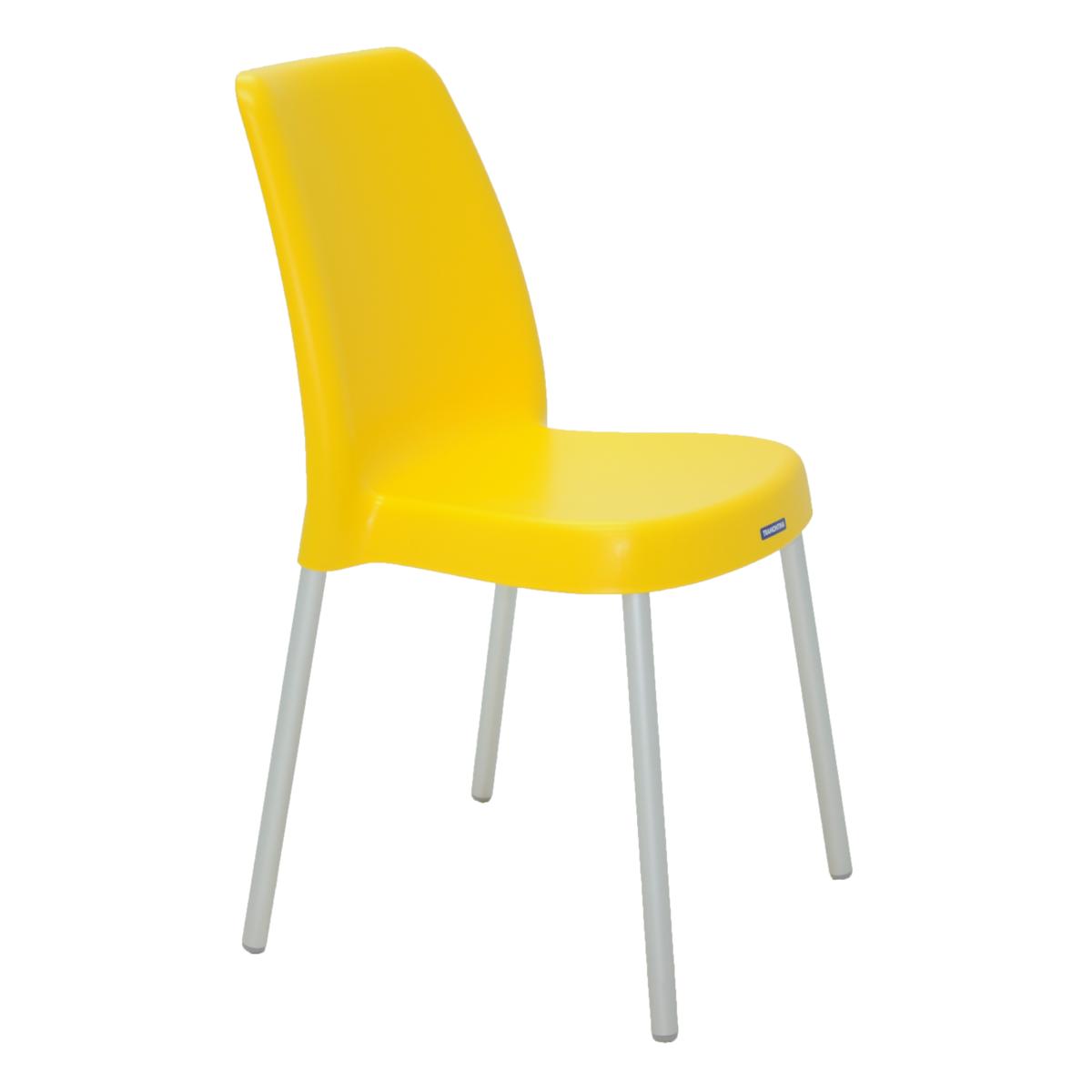 Cadeira Tramontina Amarela Vanda em Polipropileno com Pernas de Aluminio