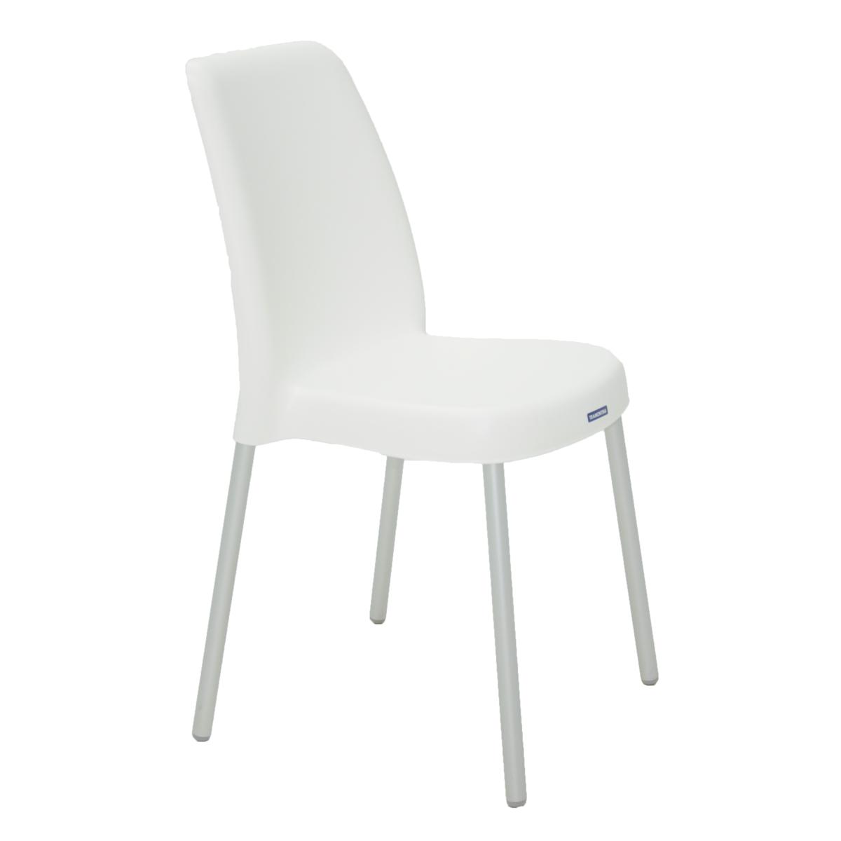 Cadeira Tramontina Branca Vanda em Polipropileno com Pernas de Aluminio