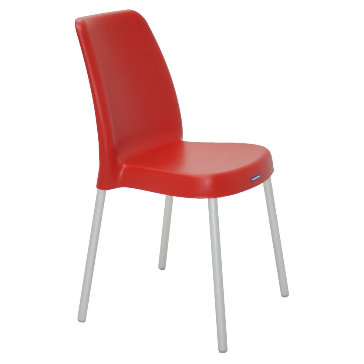 Cadeira Tramontina Vermelha Vanda em Polipropileno com Pernas de Aluminio