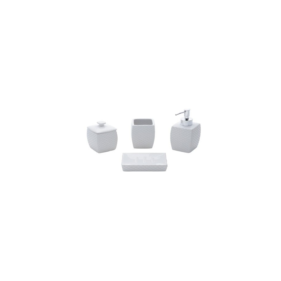 Jogo para Banheiro de Ceramica 4 Pecas Branco 25959 - Rojemac