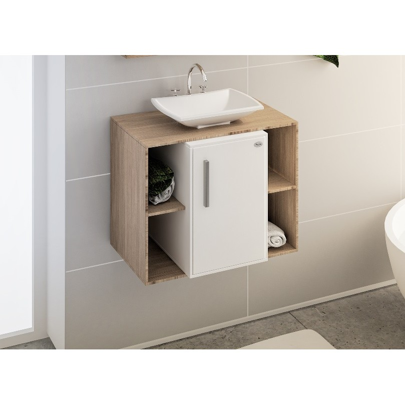 Gabinete para Banheiro Fosco 57x67cm Guaruja Delicato 016721 - Policlass
