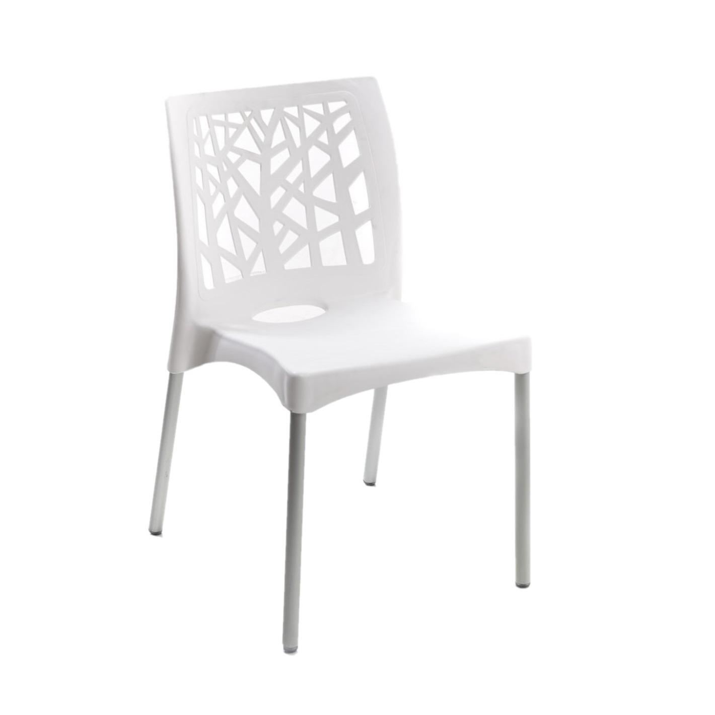 Cadeira com Pernas de Aluminio Nature Branca em Polipropileno - Forte Plastico