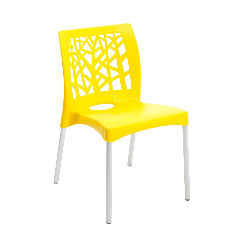 Cadeira com Pernas de Aluminio Nature Amarela em Polipropileno - Forte Plastico