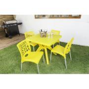 Cadeira com Pernas de Alumínio Nature Amarela em Polipropileno - Forte Plástico