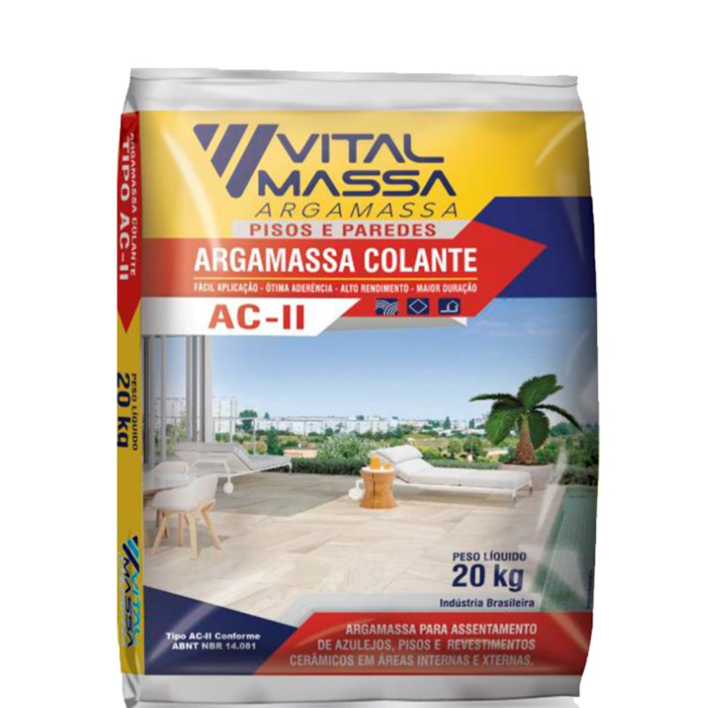 Argamassa ACII Ceramica Interno e Externo 20Kg Cinza - VitalMassa