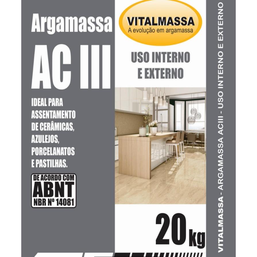 Argamassa ACIII Porcelanato Interno e Externo 20Kg Cinza - VitalMassa