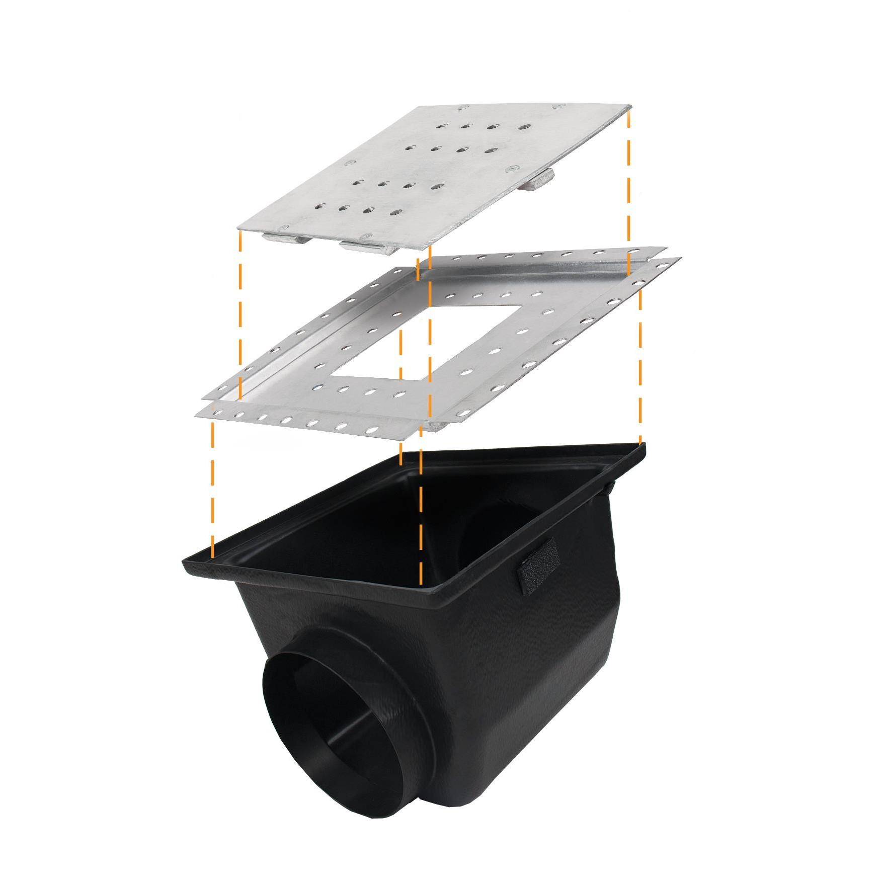 Ralo de Aluminio para Piso Linear Oculto 18X18cm - LGMais