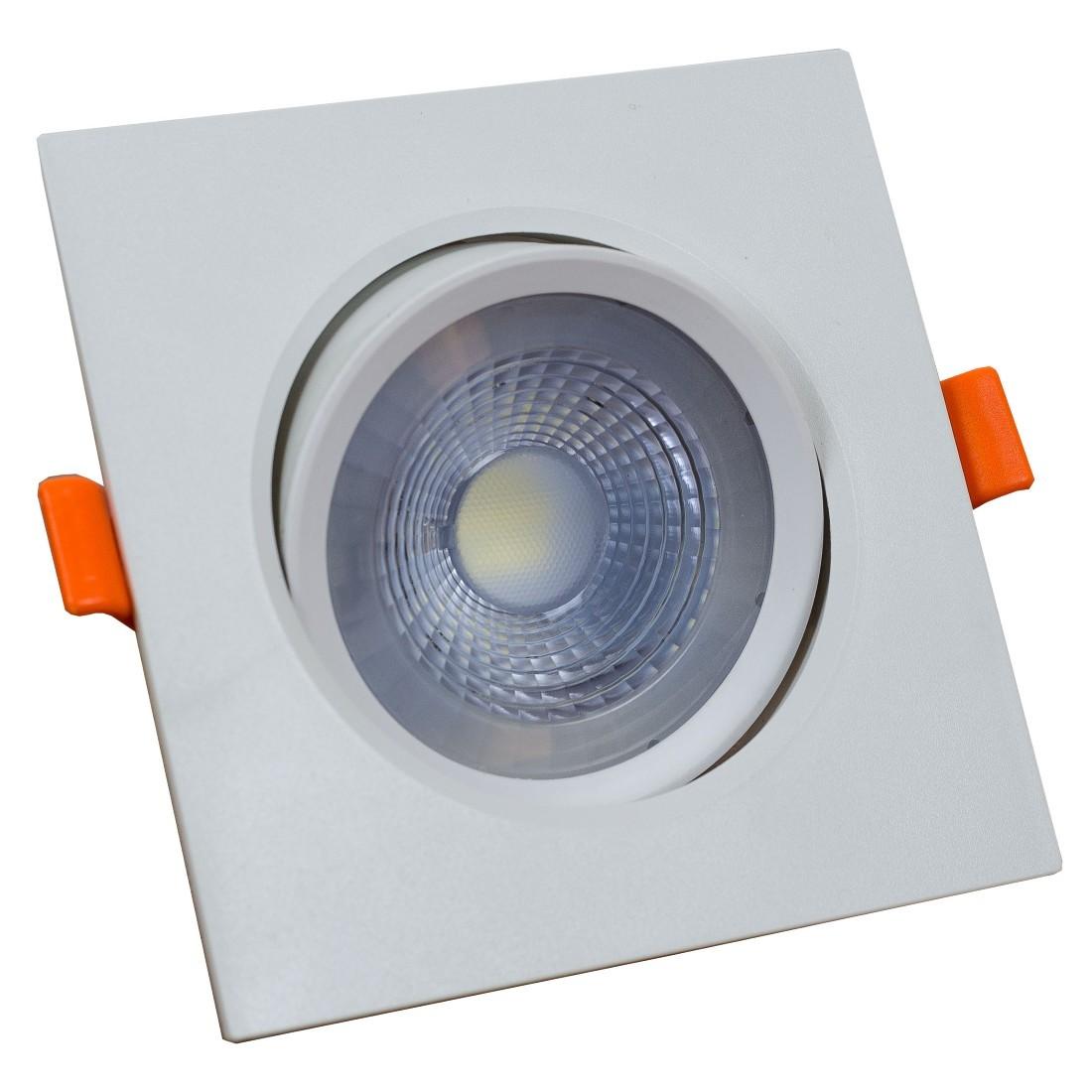Spot LED Embutir ABS Quadrado 7W Branco Bivolt - Llum