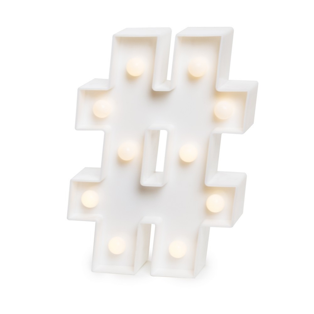 Luminaria LED Hashtag Branco 16cm - Jolie