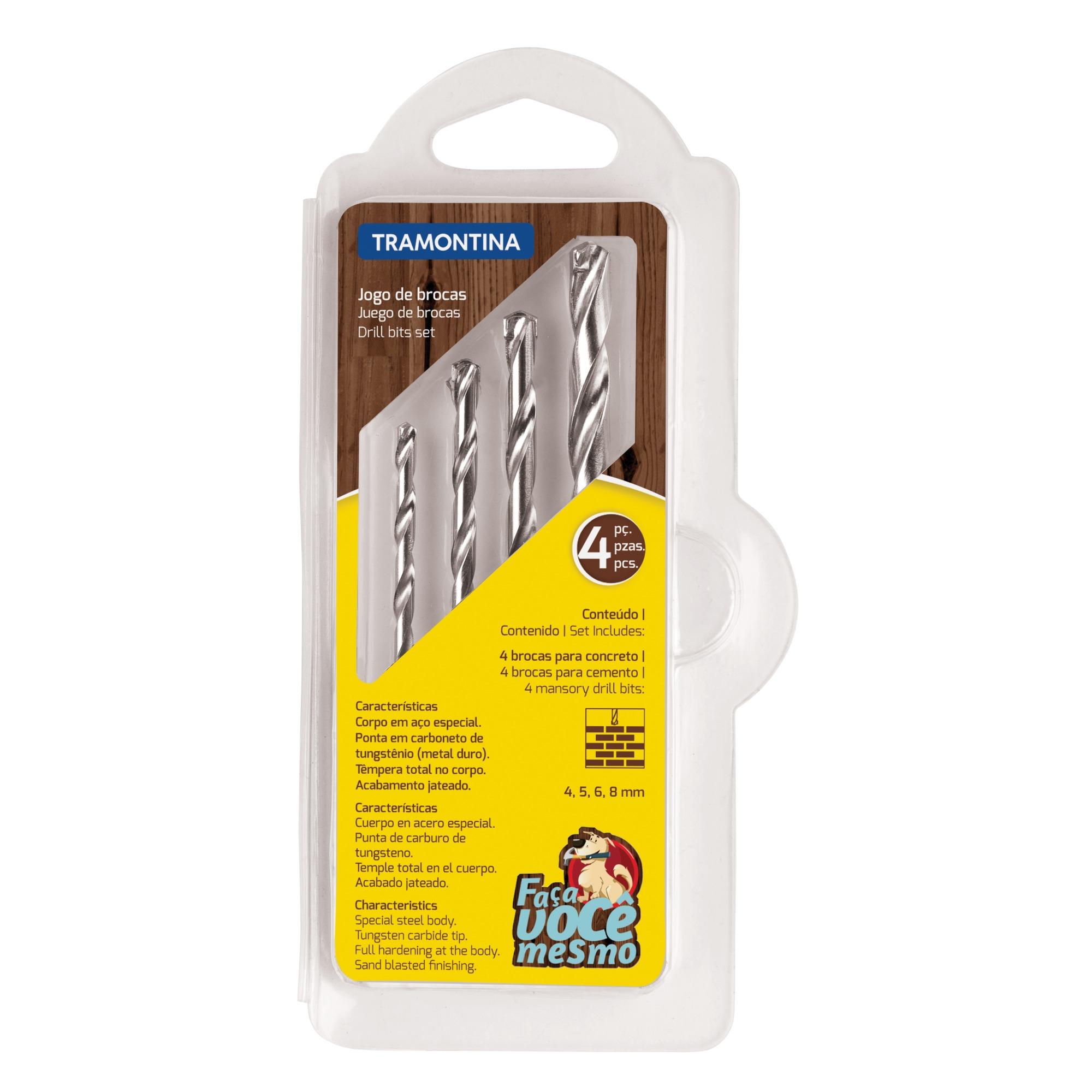 Jogo de Brocas em Aco Rapido 4 Pecas para Concreto com Estojo - Tramontina