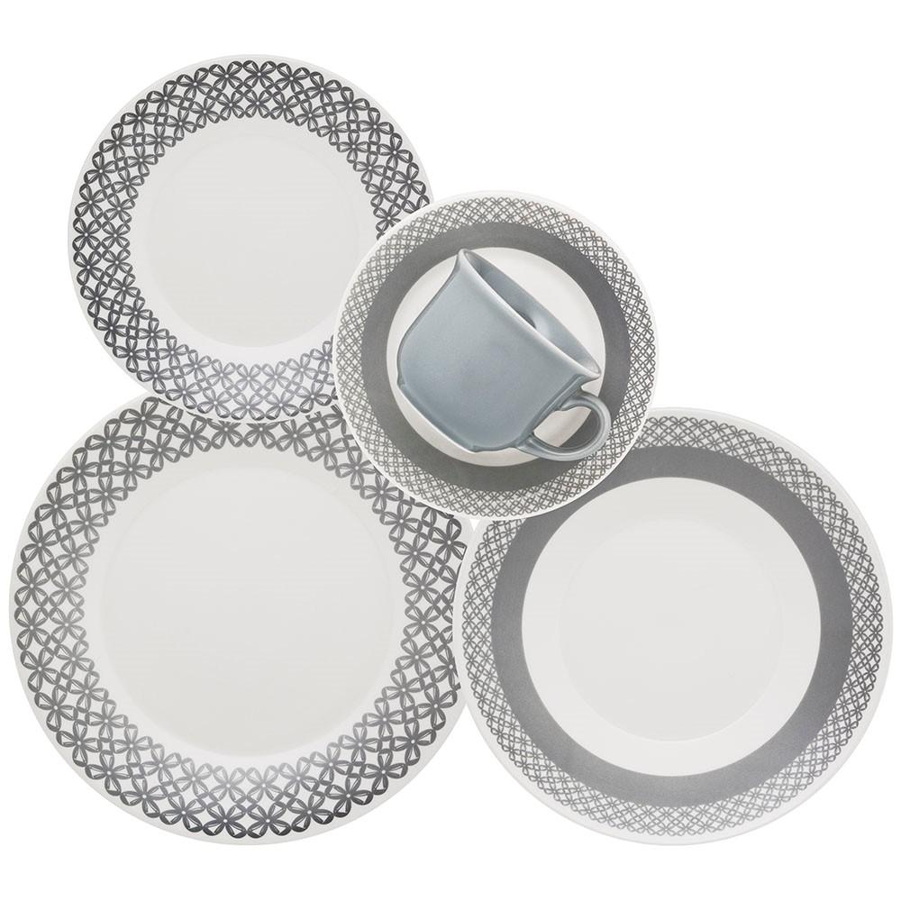 Aparelho de Jantar de Ceramica 20 Pecas Cinza - Biona