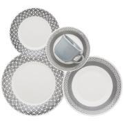 Aparelho de Jantar de Cerâmica 20 Peças Cinza - Biona