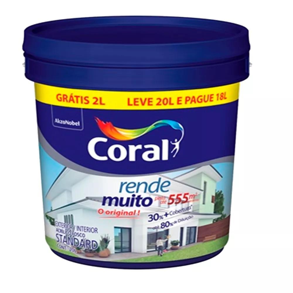 Tinta Acrilica Fosco Standard 20L - Branco - Rende Muito Coral