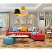 Sala colorida com piso cerâmico brilhante