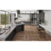 Cozinha moderna com piso cerâmico acetinado