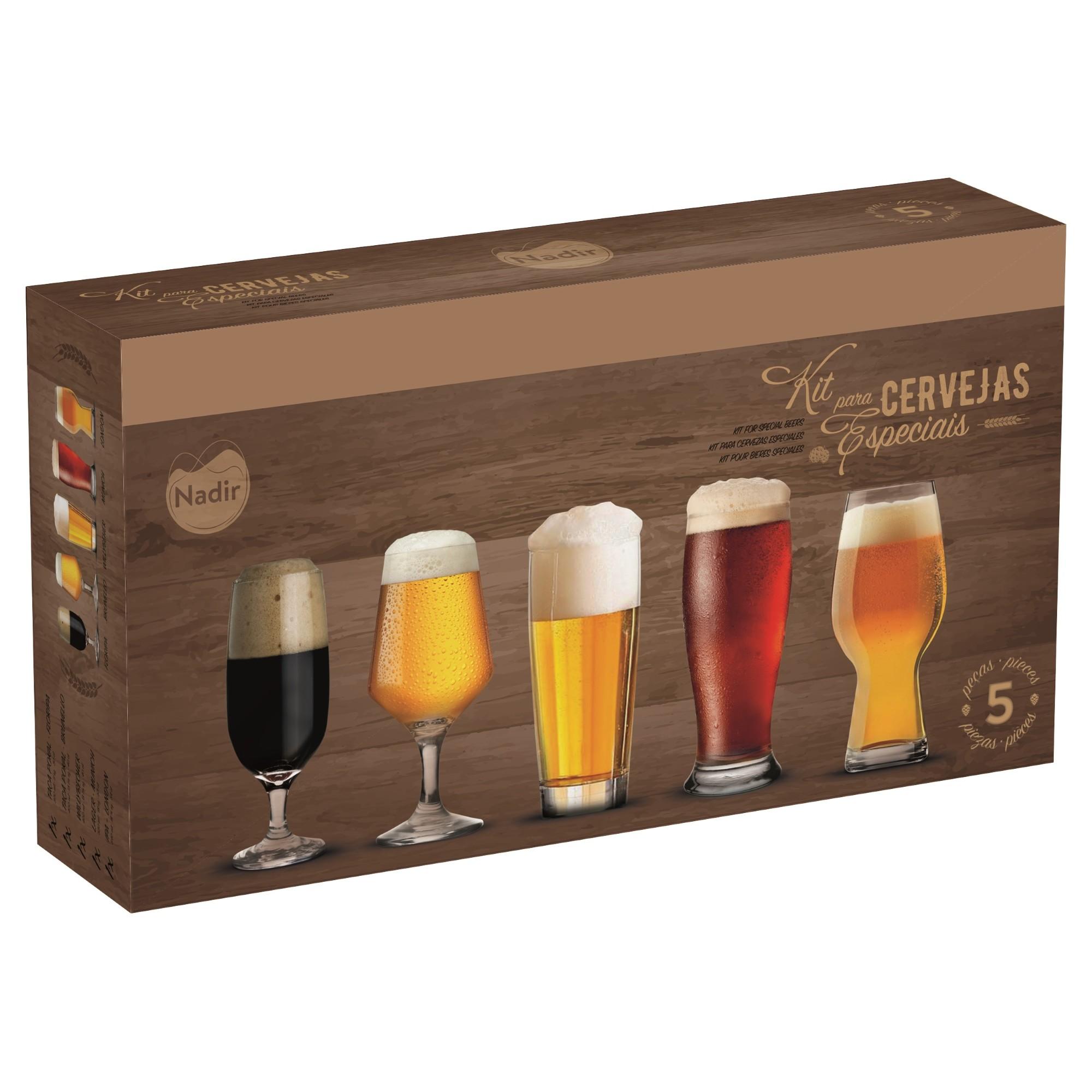 Jogo de Copos de Cerveja De Vidro 530ml 5 Pecas Transparente - Nadir