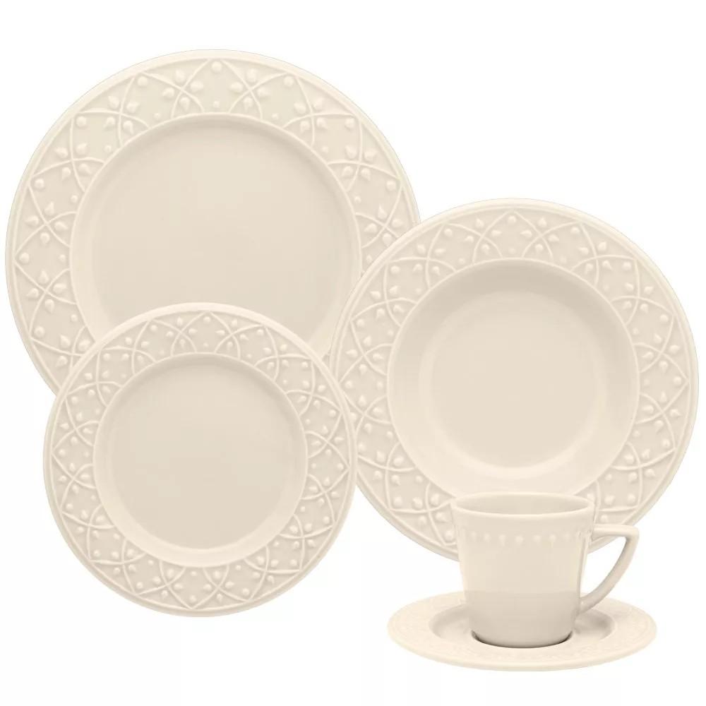 Aparelho de Jantar Marfim de Ceramica 20 Pecas - Oxford