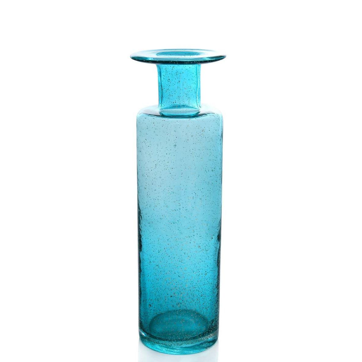 Vaso Decorativo de Vidro 38cm Cilindro Azul
