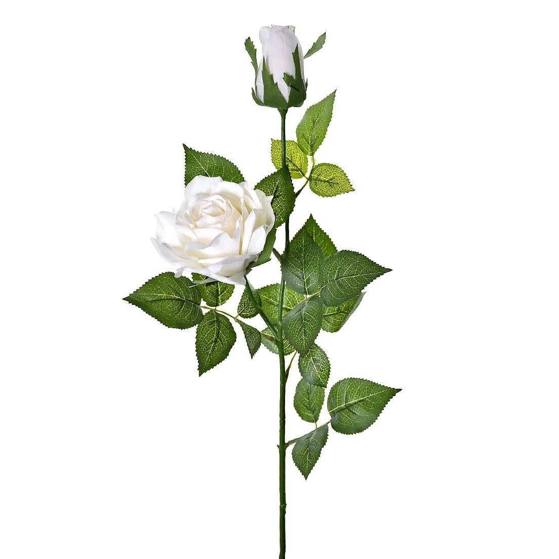 Haste Artificial Rosa e Botao de Rosa 80cm Branco