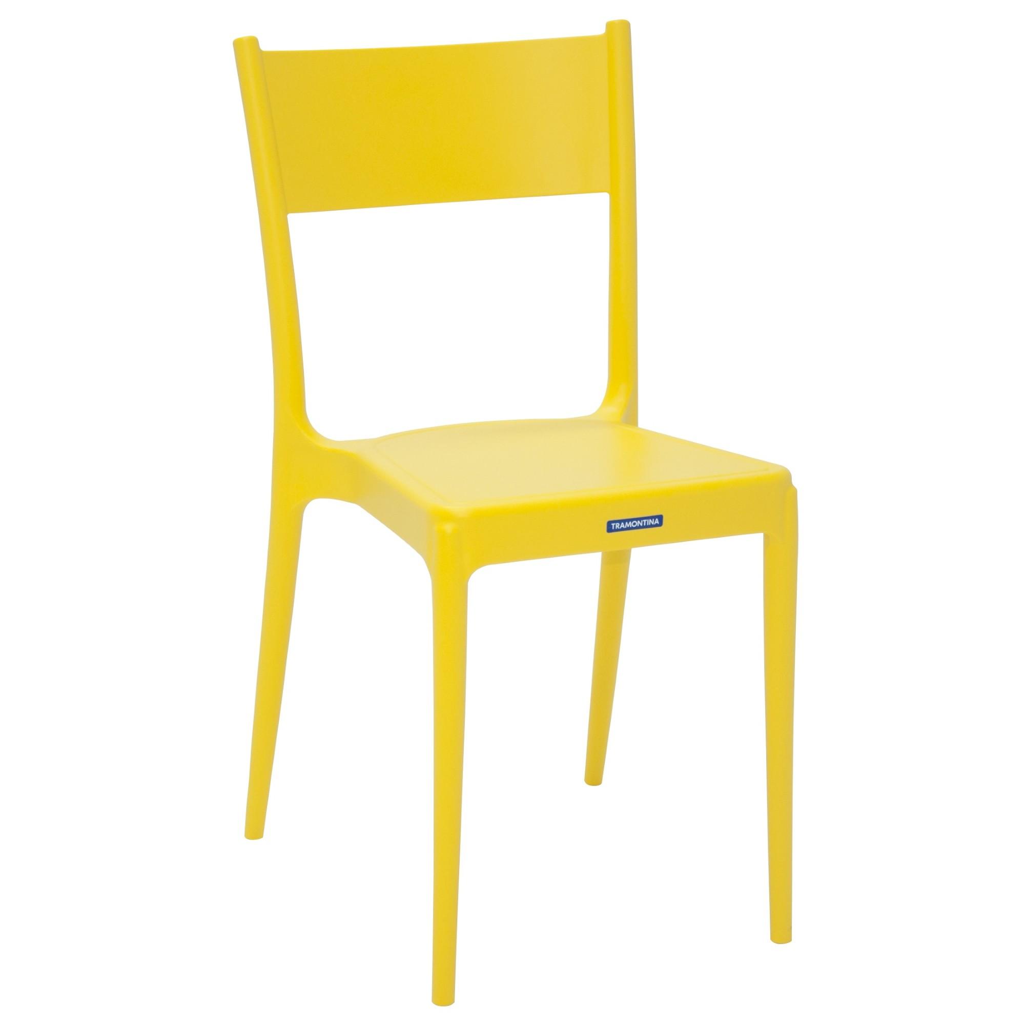 Cadeira Tramontina Amarela Diana em Polipropileno com Encosto