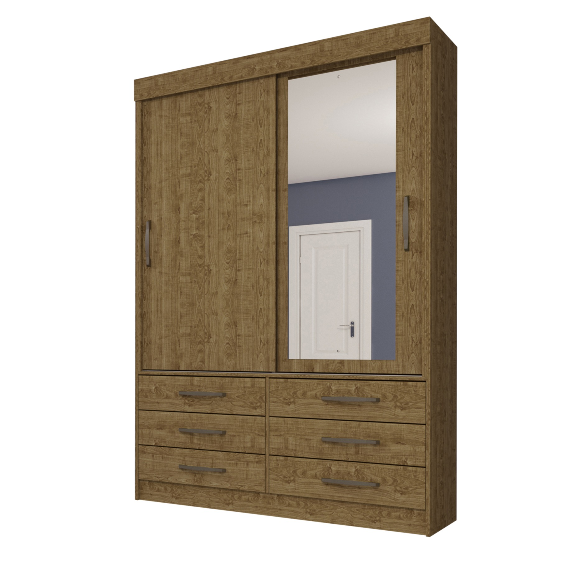 Guarda-roupa Solteiro com Espelho 2 Portas Imbuia Rustic Chicago - Tcil