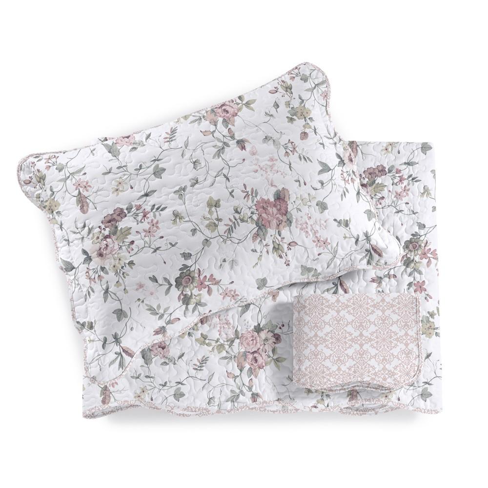Cobre Leito Casal com Porta Travesseiro 3 Pecas Nadine Rosa - Santista