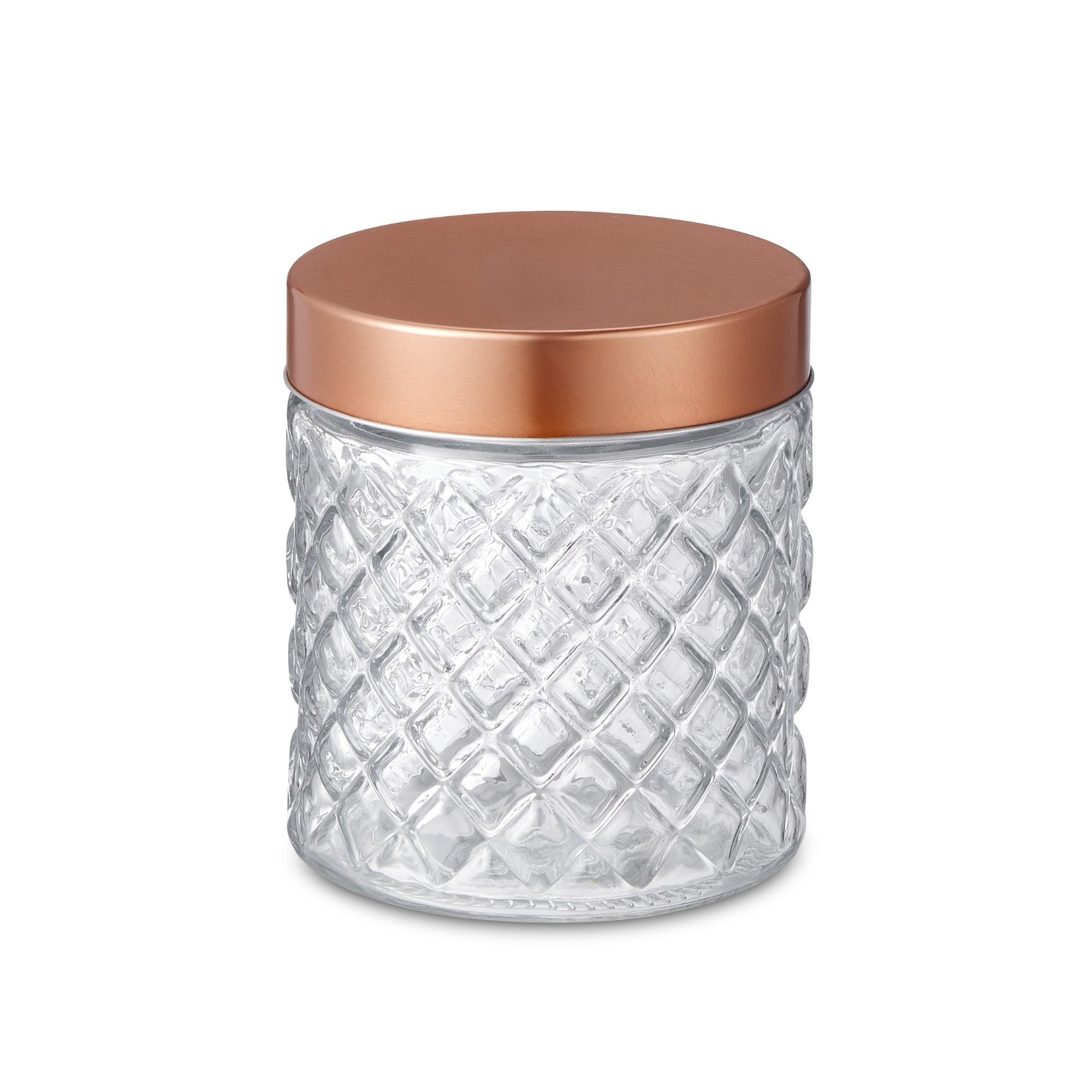 Pote de Vidro Redondo 0750L 11 cm com Tampa Bronze - Bencafil